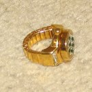 Vintage Costume Jewelry Goldtone & Rhinestone Watch Ring