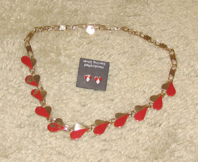 Vintage Costume Jewelry Goldtone & Red Heart Necklace with matching Earrings for Pierced Ears