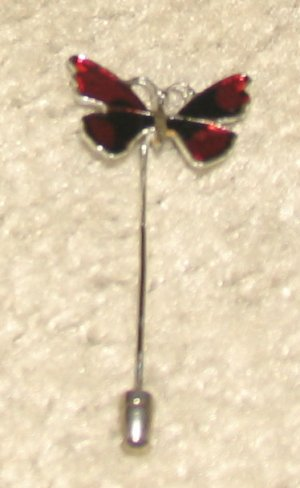 """Vintage Costume Jewelry Goldtone & Red 2"""" Butterfly Stick Pin"""