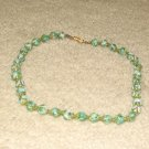 "Vintage Costume Jewelry 18"" Aqua Glass Bead Necklace"