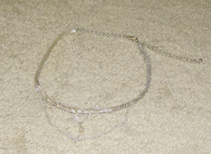 "Vintage Costume Jewelry 18"" Silvertone Necklace"