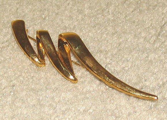 Unique Vintage Costume Jewelry Goldtone Lightning Bolt Pin