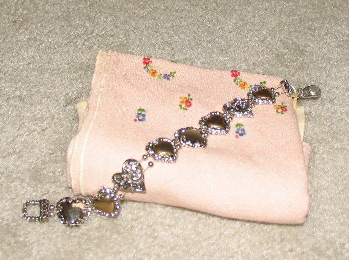 Vintage Costume Jewelry Silvertone Bracelet with Silver Hearts