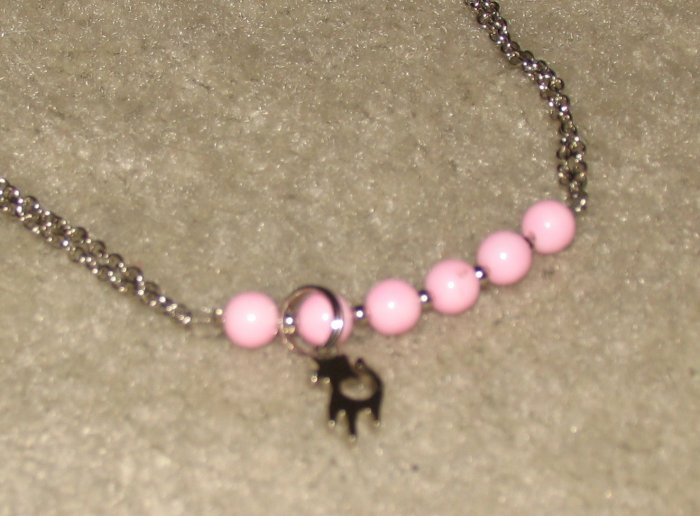Vintage Costume Jewelry Silvertone & Pink Bead Choker with Silver Cat Charm