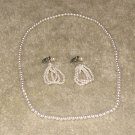 Vintage Costume Jewelry Faux Pearl Necklc/Matchg Earrings
