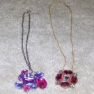 Vintage Costume Jewelry 2 Necklaces w Colored Stone Pendant