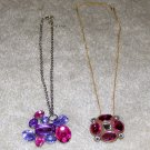 "2 Vintage Costume Jewelry 20"" Necklaces with Colored Stone Pendant"