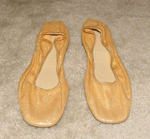 Vintage Ladies Gold Lame Soft Sided Flats size 7M