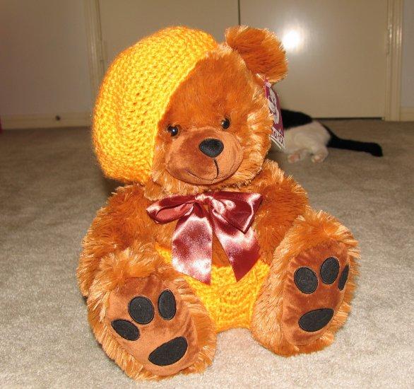 "Plush Honey Brown Bear 16"" Teddy Bear w Custom Crocheted Outfit"