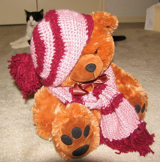 "Plush Honey Brown Bear 17"" Teddy Bear w Custom Crocheted Outfit"