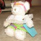 "Plush White 16"" Teddy Bear w Custom Crocheted Outfit"