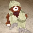 "Plush Brown 15"" American Teddy Bear w Custom Crocheted Outfit"