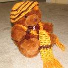 "Plush Brown Honey 14"" American Teddy Bear w Custom Crocheted Outfit"