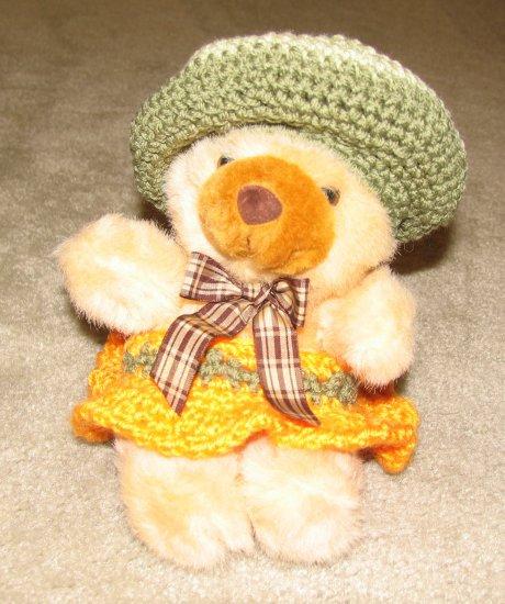 "Plush Brown Honey 12"" American Teddy Bear w Custom Crocheted Outfit"