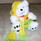 "Plush White Chubby 17"" Teddy Bear w Custom Crocheted Outfit"
