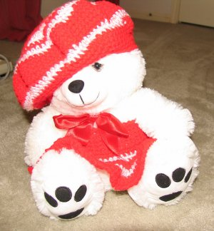 "Plush White Chubby 17"" Teddy Bear w Red Custom Crocheted Outfit"