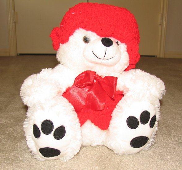 "Plush White Chubby 15"" Teddy Bear w Red Custom Crocheted Clothes"