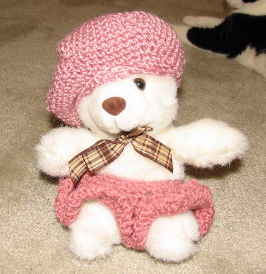 "Plush Small White 12"" Teddy Bear w Custom Crocheted Outfit"