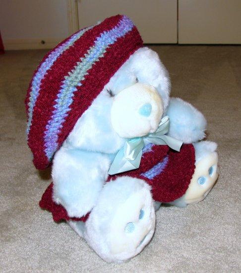 "Plush Baby Blue 20"" Teddy Bear w Custom Crocheted Outfit"