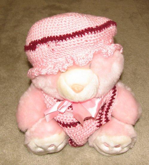 "Plush Pink 20"" Teddy Bear w Custom Crocheted Outfit"