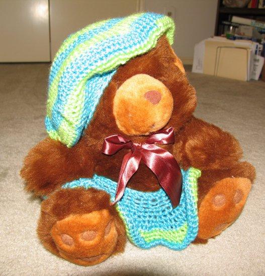 "Plush Brown 18"" Teddy Bear w Custom Crocheted Outfit"