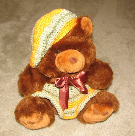 """Plush Brown 17"""" Teddy Bear w Multi--Colored Pastel Custom Crocheted Outfit"""