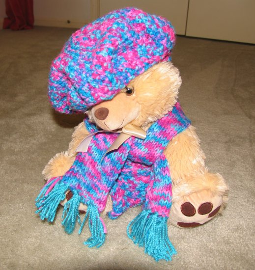 "Plush Honey 16"" Teddy Bear w Turquoise, Purple Custom Crocheted Outfit"