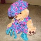 "Plush Honey 16"" Teddy Bear w Turquoise, Purple Custom Crocheted Outfit"
