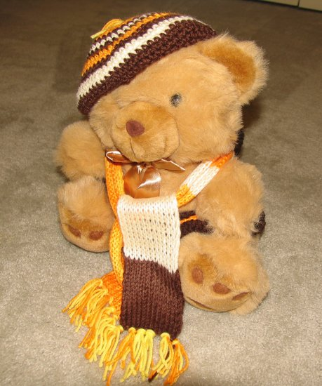 "Plush Honey 16"" Teddy Bear w Orange, Yellow & Brown Custom Crocheted Outfit"