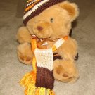 "Plush Honey 16"" Teddy Bear w Orange, Yellow & Brown Custom Crocheted Outfit"