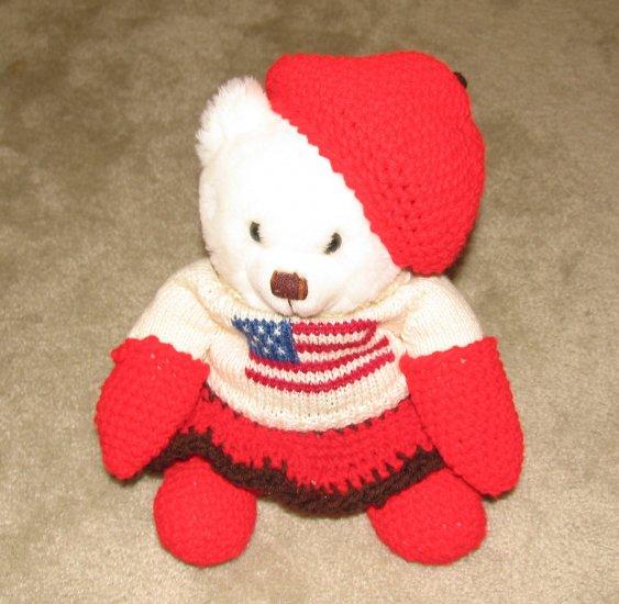"Plush White 12"" American Flag Teddy Bear w Custom Crocheted Outfit"