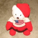 "Plush White 12"" American Flag Teddy Bear w Custom Crocheted Outfit"