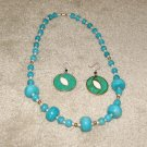Vintage Costume Jewelry Turquoise, Faux Pearl Necklace w signed earrings