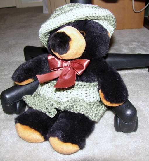 """Plush Black 15"""" Teddy Bear w Custom Crocheted Outfit"""