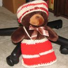 "Plush Brown 12"" Teddy Bear w Custom Crocheted Outfit"