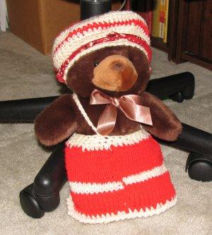 "Plush Brown 12"" Teddy Bear w Custom Crocheted Outfit"