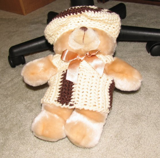 "Plush Honey 12"" Teddy Bear w Custom Crocheted Outfit"