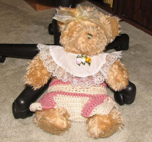 "Plush Honey 16"" Teddy Bear w Custom Crocheted Outfit"