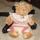 "Plush Honey 16"" Teddy Bear w Custom Crocheted Outfit"