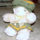 "Plush Honey 12"" Teddy Bear w Green, Orange Custom Crocheted Outfit"