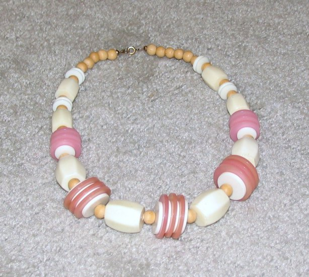 Vintage Costume Jewelry White, Pink Large Bead Necklace