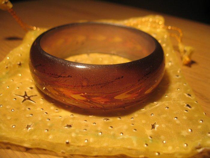 Brown handpainted wheat motif resin bangle (£8.50)