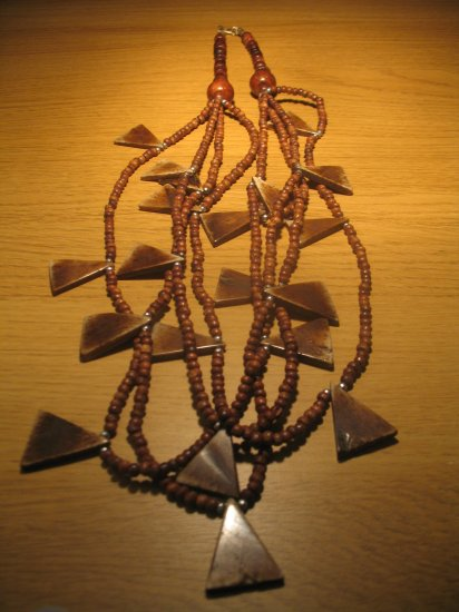 Wood and bone bead necklace (£12.00)