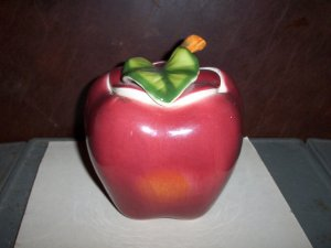 Apple Cookie Jar  Red with Green Leaf
