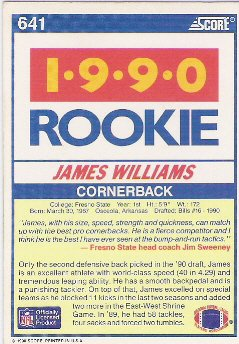 James Williams 1990 Score Rookie Card