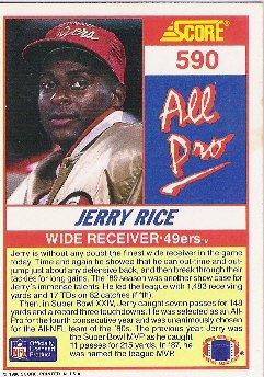 Jerry Rice  All Pro  1990 Score