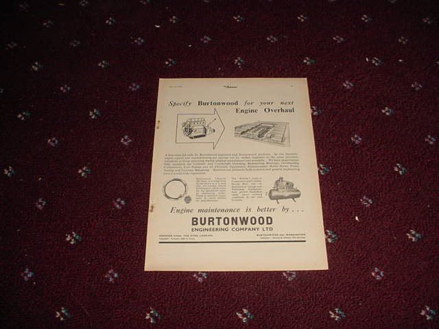1952 Burtonwood Engineering ad from the UK