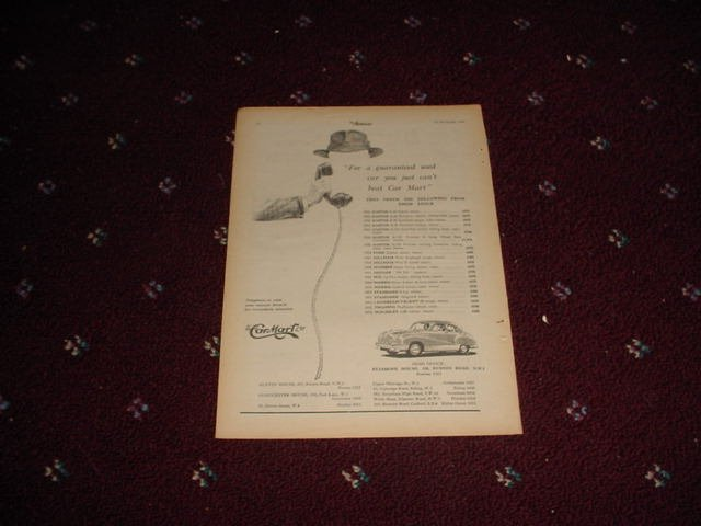 1954 Car Mart ad from the UK