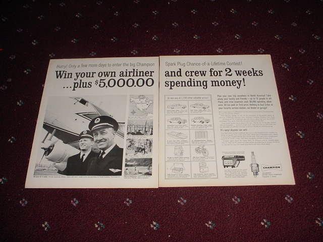 1961 Champion Spark Plugs Contest ad