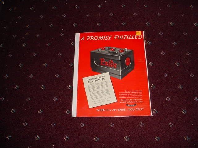 1947 Exide Battery ad